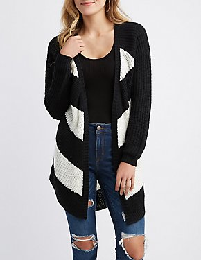 Striped Shaker Stitch Open Cardigan