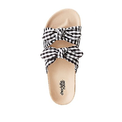 Gingham Bow Two-Strap Slide Sandals