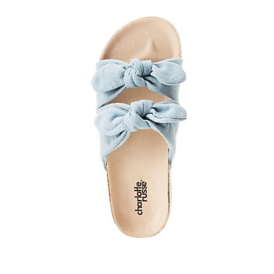 Denim Bow Two-Strap Slides