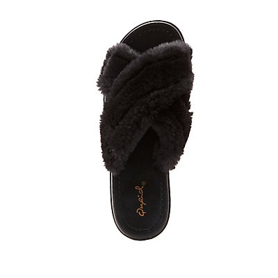 Qupid Faux Fur X Slide Sandals