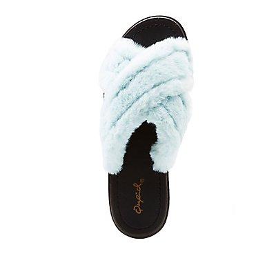 Qupid Faux Fur X Slide Sandals