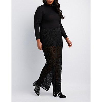 Plus Size Burnout Velvet Flare Pants