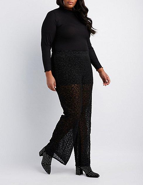 Plus Size Burnout Velvet Flare Pants Charlotte Russe