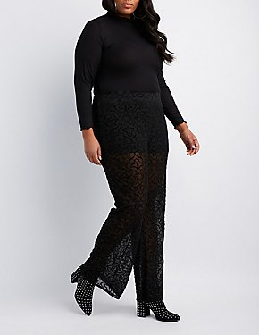 Plus Size Burnout Velvet Flare Pants