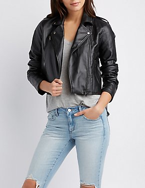 Lace-Up Detail Moto Jacket