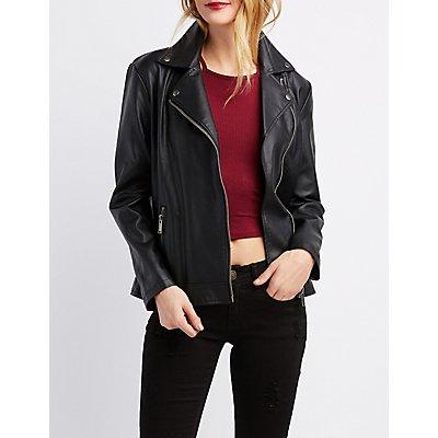 Faux Leather Boyfriend Moto Jacket