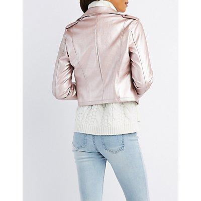 Metallic Faux Leather Moto Jacket