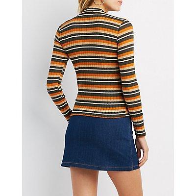 Striped & Ribbed Mock Neck Top