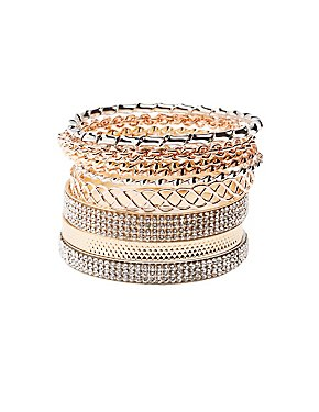 Etched Metal & Embellished Bangle Bracelets - 9 Pack