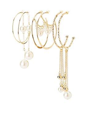 Faux Pearl & Textured Hoop Earrings - 3 Pack