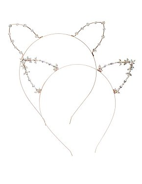 Embellished Cat Ear Headbands - 2 Pack