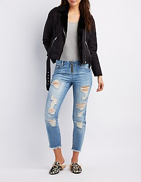 Refuge Destroyed Zip-Up Straight Leg Jeans