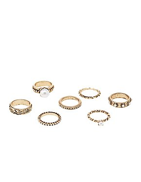 Textured & Faux Pearl Stackable Rings