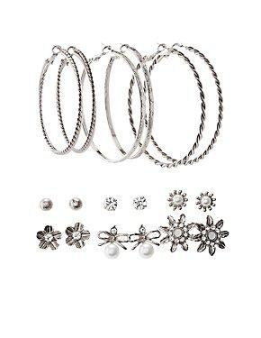 Embellished Hoop & Stud Earrings - 9 Pack