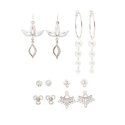 Embellished Hoop, Drop & Stud Earrings - 6 Pack