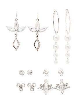 Embellished Hoop, Drop & Stud Earrings - 6 Pack
