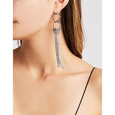 Crystal Tassel Chandelier Earrings