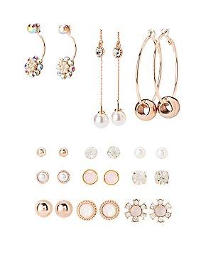 Embellished Hoop & Stud Earrings - 12 Pack