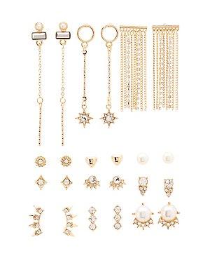 Embellished Stud & Tassel Earrings - 12 Pack