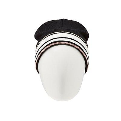 Striped Foldover Beanie
