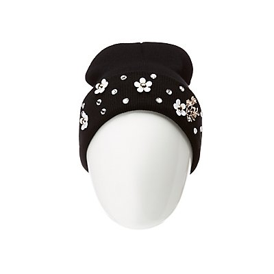 Crystal & Floral Knit Beanie