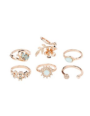 Crystal Embellished Stackable Rings - 6 Pack