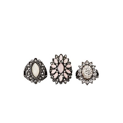 Crystal Cocktail Rings - 3 Pack