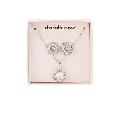Cubic Zirconia Stud Earrings & Pendant Necklace Set