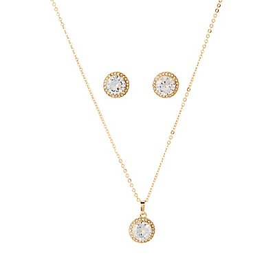 Cubic Zirconia Stud Earrings & Pendant Necklace Set