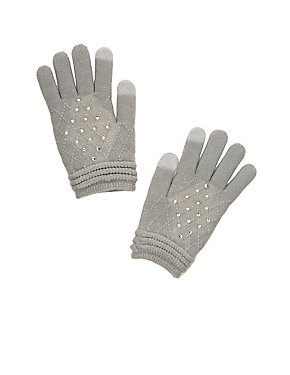Rhinestone-Trim Knit Tech Gloves
