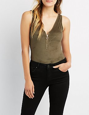 Faux Suede O-Ring Bodysuit