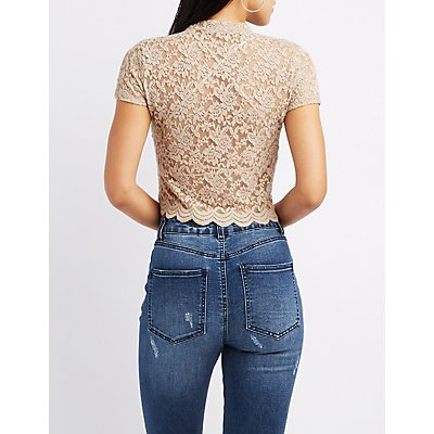 Lace Mock Neck Skimmer Top