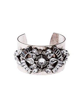 Wide Goemetric Crystal Cuff Bracelet