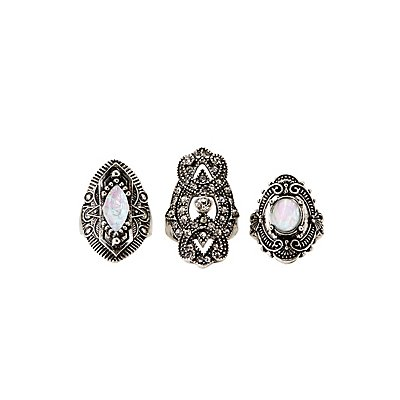 Crystal Cocktail Rings - 3 Pack at Charlotte Russe in Cypress, TX | Tuggl