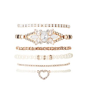 Crystal, Fax Pearl & Bead Stacking Bracelets - 6 Pack