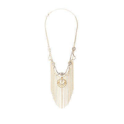 Crystal, Faux Pearl, & Tassel Statement Necklace