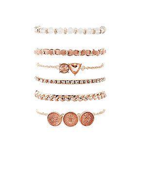 Embellished Layering Bracelets - 6 Pack