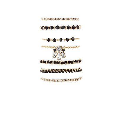 Beaded & Embellished Layering Bracelets - 7 Pack