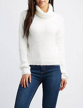 Cowl Neck Feather Knit Cropped Sweater