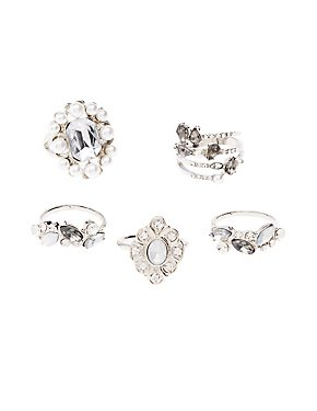 Crystal & Faux Pearl Stackable Cocktail Rings - 5 Pack