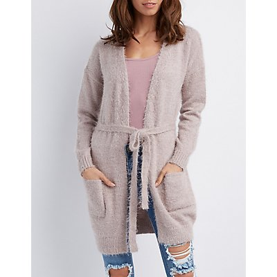 Fuzzy Belted Cardigan