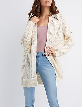 Destroyed Open-Front Cardigan
