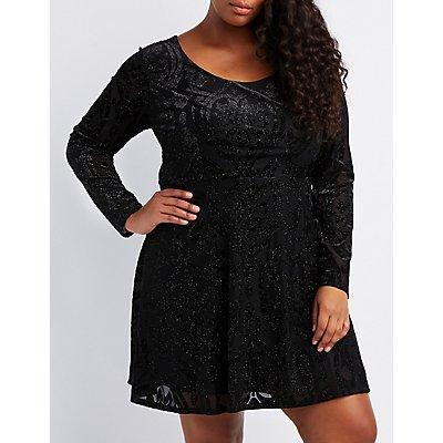 Plus Size Flocked Velvet Skater Dress