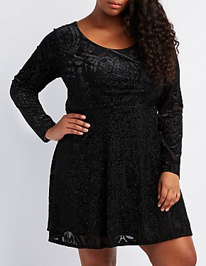 Plus Size Flocked Velvet Skater Dress
