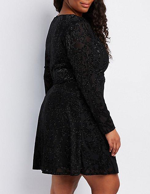 Plus Size Flocked Velvet Skater Dress | Charlotte Russe