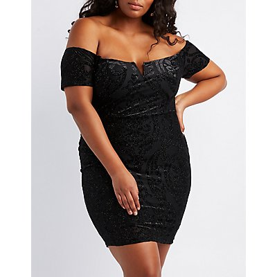 Plus Size Flocked Velvet Off-The-Shoulder Bodycon Dress