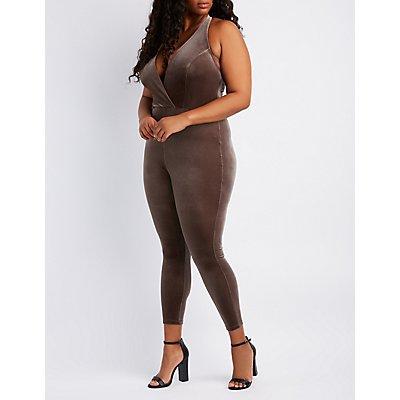Plus Size Velvet Surplice Halter Jumpsuit