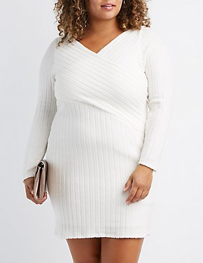 Plus Size Crossover Ribbed Knit Sweater Dress