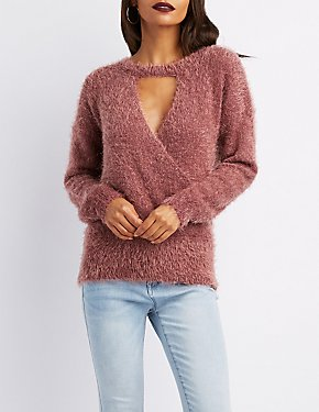 Feather Knit Wrap Front Sweater