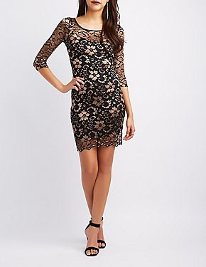 Lace Long Sleeve Bodycon Dress